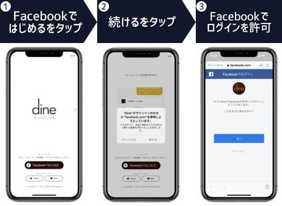 DineのFacebook登録